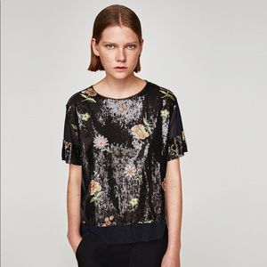 zara black sequin floral embroidered top